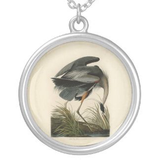 Fåglar för Audubon underbara blåttHeron Silverpläterat Halsband