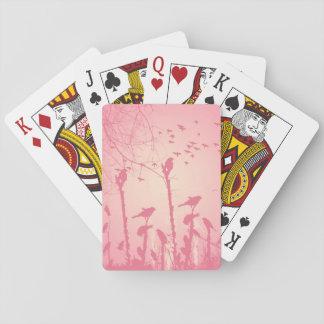 Fåglar i den rosa solnedgången spel kort