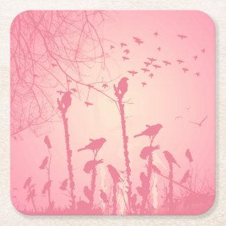 Fåglar i den rosa solnedgången underlägg papper kvadrat