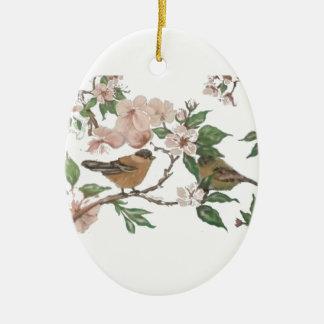 Fåglar och blommar julgransprydnad keramik