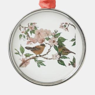 Fåglar och blommar julgransprydnad metall