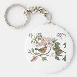 Fåglar och blommar rund nyckelring
