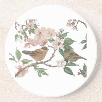 Fåglar och blommar underlägg sandsten