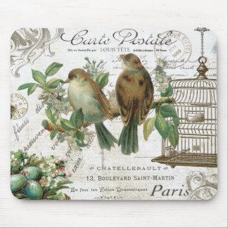Fåglar och fågelbur för modern vintage franska musmatta