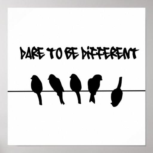 Fåglar på en binda - våga för att vara olikt print