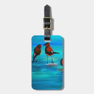 Fåglar på konsten för lagun (akrylen) K.Turnbull Bagagebricka