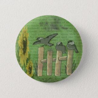 Fåglar på staket standard knapp rund 5.7 cm