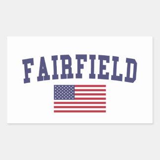 Fairfield CA US flagga Rektangulärt Klistermärke