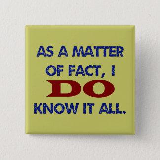 Faktiskt vet JAG allt det! Standard Kanpp Fyrkantig 5.1 Cm
