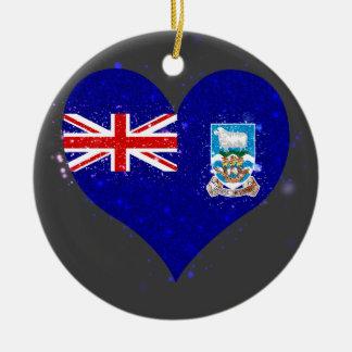 Falkland Islands sjunker glänsande unikt Rund Julgransprydnad I Keramik