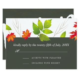 Fallande bröllop OSA för lövlönnOak 8,9 X 12,7 Cm Inbjudningskort