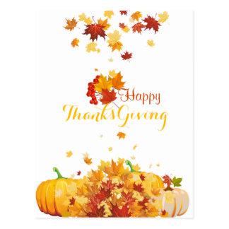 Fallande löv och pumpor för thanksgivinghöst vykort