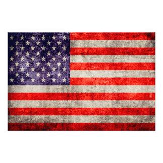 Falln antikvitetamerikanska flaggan fototryck