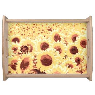 Fält av solrosor - brunt, guld och gult frukostbricka