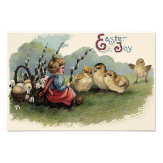 Fält för barn för lilja för ägg för påskchickbaske fototryck