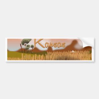 Fält för vintageKansas vete reser affischen Bildekal