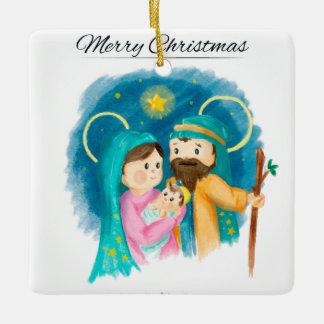 Familj för heliga för vattenfärgjulgranprydnad julgransprydnad keramik