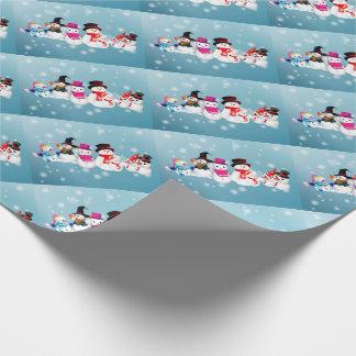Familj för julgåvasjal/blåttsnögubbe presentpapper