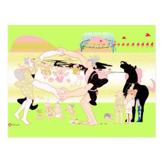 Familj i japansk Edo ara 2 Vykort