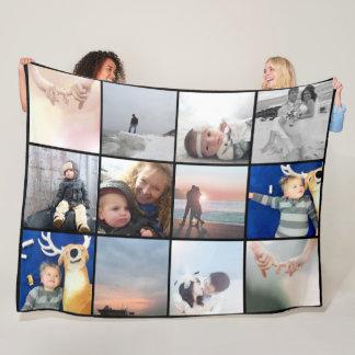 FamiljfotoCollage 12 kvadrerar Instagram foto Fleecefilt