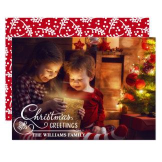 Familjjulen foto somvit överdrar, skrivar 12,7 x 17,8 cm inbjudningskort