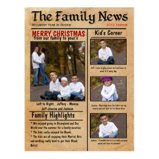 Familjnyheternajulkort eller informationsblad vykort