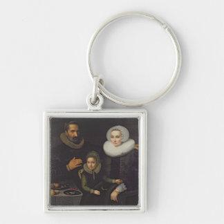 Familjporträtt Fyrkantig Silverfärgad Nyckelring