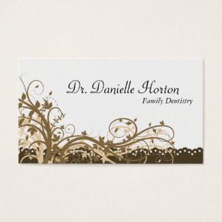 Familjtandläkarevisitkort - guld- elegant blommigt visitkort