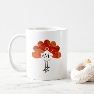 Familjthanksgiving Monogrammed Turkiet Kaffemugg