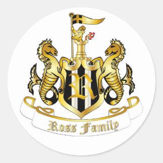 Familjvapensköldklistermärke (Ross) Runt Klistermärke