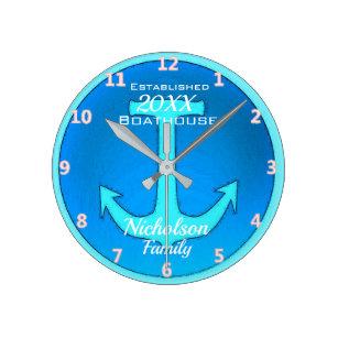 Family Boathouse stor Personlig i Blue Rund Klocka