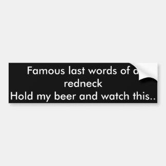 Famouse jumboord av en redneck bildekal