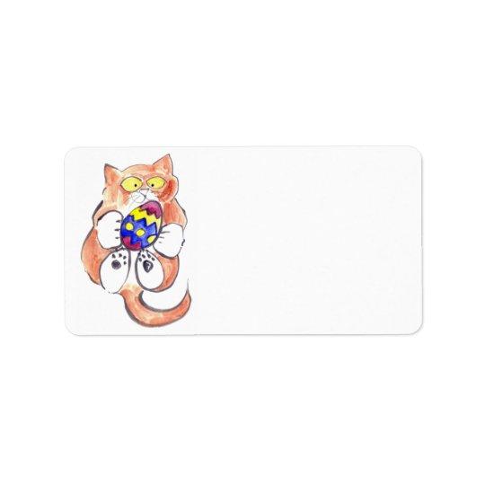 Fångad påskägg vid kattungen adressetikett