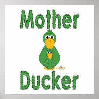 Fånig grön anka- och babymor Ducker Posters