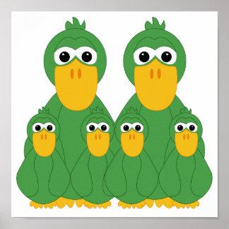 Fånig grönt duckar och 4 babyar print