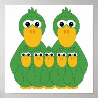 Fånig grönt duckar och 5 babyar affisch