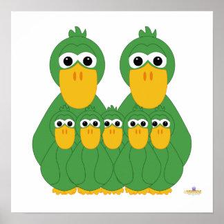 Fånig grönt duckar och fem babyar affischer