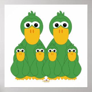 Fånig grönt duckar och fyra babyar affisch