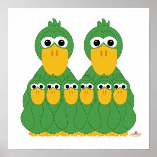 Fånig grönt duckar och sex babyar affischer