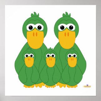 Fånig grönt duckar och tre babyar posters