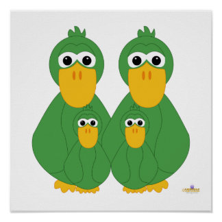 Fånig grönt duckar och två babyar affischer