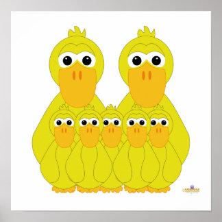 Fånig gult duckar och fem babyar posters