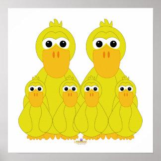 Fånig gult duckar och fyra babyar print