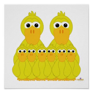 Fånig gult duckar och sex babyar print