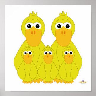 Fånig gult duckar och tre babyar affisch