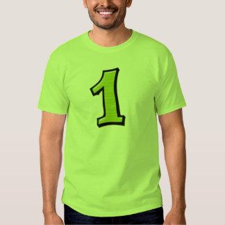 Fåniget numrerar 1 gröna manar T-tröja T Shirts