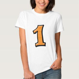 Fåniget numrerar 1 orange damer T-tröja T-shirts