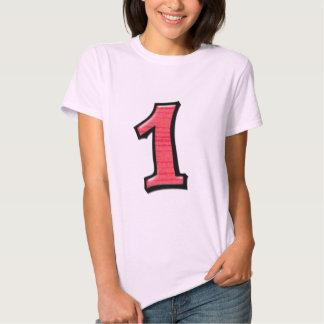 Fåniget numrerar 1 röda damer T-tröja Tee Shirts