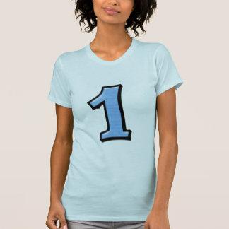 Fåniget numrerar damer för 1 blått T-tröja Tee Shirt