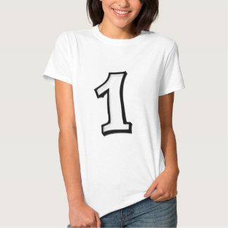 Fåniget numrerar damer för 1 vit T-tröja T-shirt